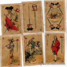 Barajas de cartas: 10 NAIPES DE LA BARAJA CONOCIDA COMO DE PEDRO MALDONADO, 1ª BARAJA TAURINA. 1875. ESPADAS.. Lote 112896303