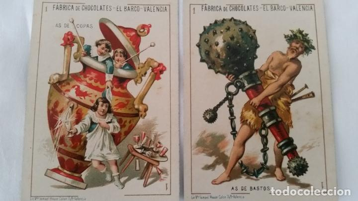 Barajas de cartas: BARAJA NAIPES CHOCOLATES EL BARCO LA GRANDE COMPLETA MUY BUEN ESTADO AÑO 1888 ORIGINAL - Foto 8 - 116254195