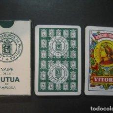 Barajas de cartas: BARAJA ESPAÑOLA FOURNIER. PUBLICIDAD LA MUTUA DE SEGUROS DE PAMPLONA. Lote 116855107