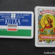 Barajas de cartas: BARAJA ESPAÑOLA FOURNIER. PUBLICIDAD CAJA AHORROS MUNICIPAL KUTXA. TARJETA 6000. Lote 116949787