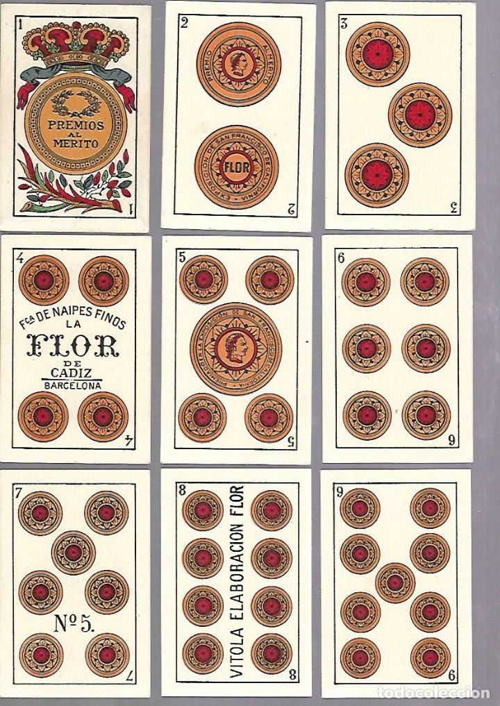 Barajas de cartas: BARAJA DE CARTAS. ESPAÑOLA. NAIPES FINOS LA FLOR DE CADIZ. BARCELONA. COMPLETA. MUY BUEN ESTADO. VER - Foto 2 - 117264519