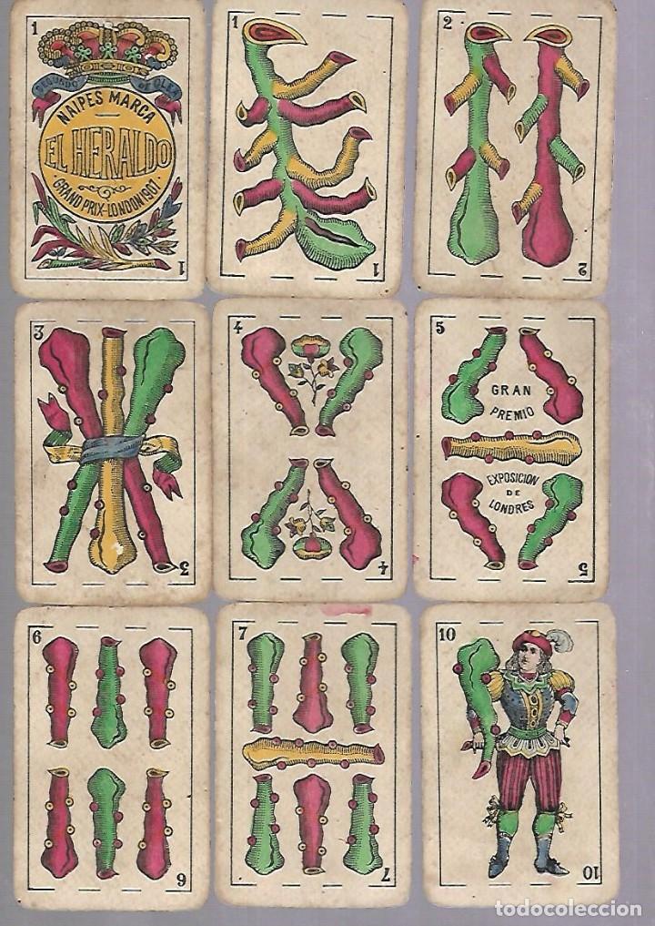 Barajas de cartas: BARAJA DE CARTAS. EL HERALDO DE SEGUNDO OLEA, CADIZ. FALTA EL 5 DE COPAS. VER - Foto 3 - 117269579