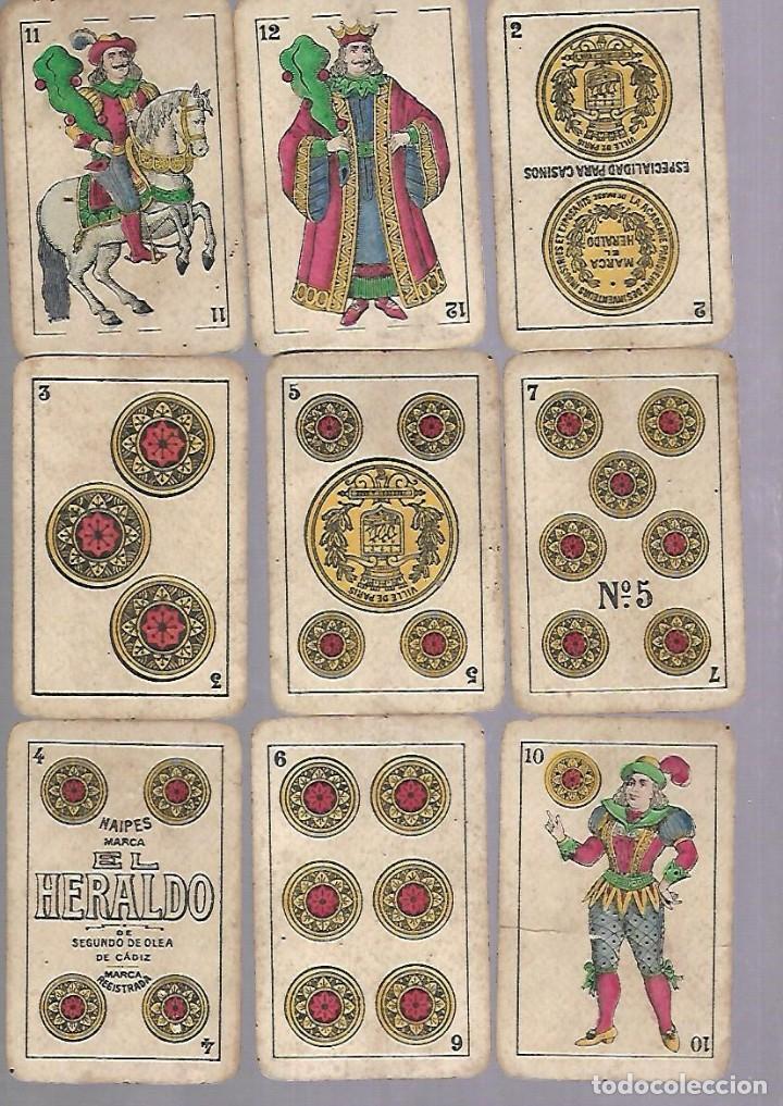 Barajas de cartas: BARAJA DE CARTAS. EL HERALDO DE SEGUNDO OLEA, CADIZ. FALTA EL 5 DE COPAS. VER - Foto 4 - 117269579