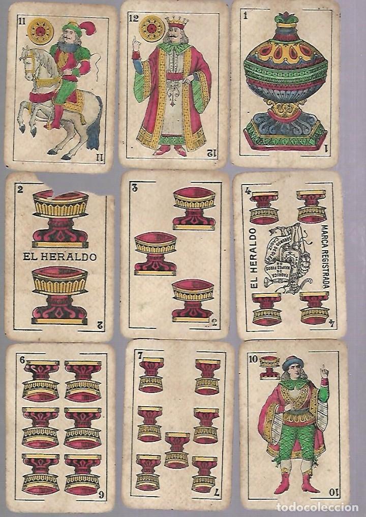 Barajas de cartas: BARAJA DE CARTAS. EL HERALDO DE SEGUNDO OLEA, CADIZ. FALTA EL 5 DE COPAS. VER - Foto 5 - 117269579