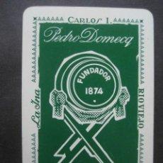 Barajas de cartas: CARTA DE BARAJA UNITARIA. PUBLICIDAD FUNDADOR, LA INA, RIO VIEJO, CARLOS I. PEDRO DOMECQ JEREZ. Lote 118627027