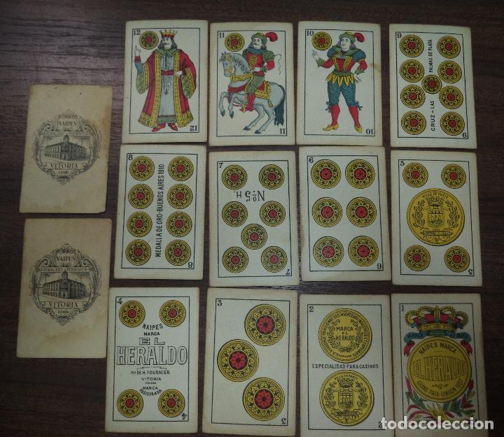 Barajas de cartas: BARAJA DE CARTA ESPAÑOLA. EL HERALDO. MARCA DE OLEA. CADIZ. SIN APENAS USO. 1907. - Foto 2 - 120631979