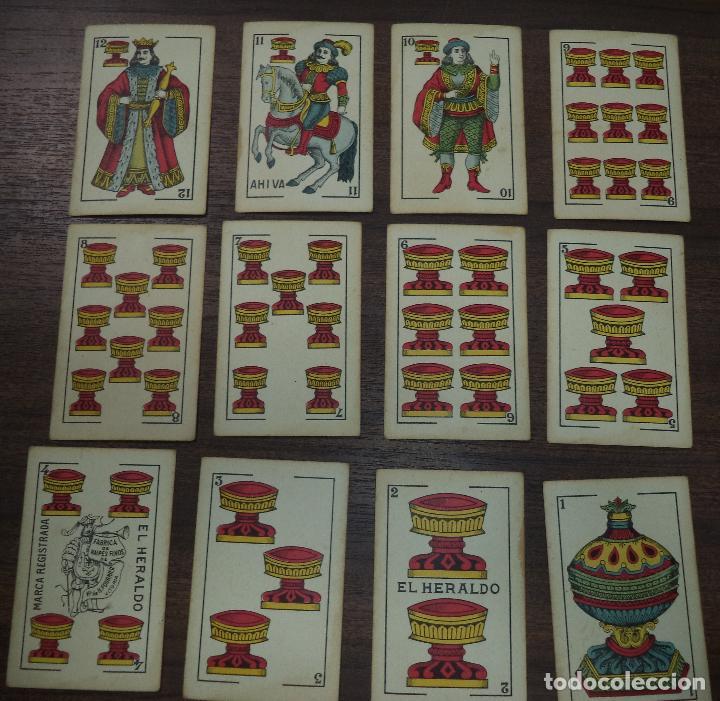 Barajas de cartas: BARAJA DE CARTA ESPAÑOLA. EL HERALDO. MARCA DE OLEA. CADIZ. SIN APENAS USO. 1907. - Foto 4 - 120631979