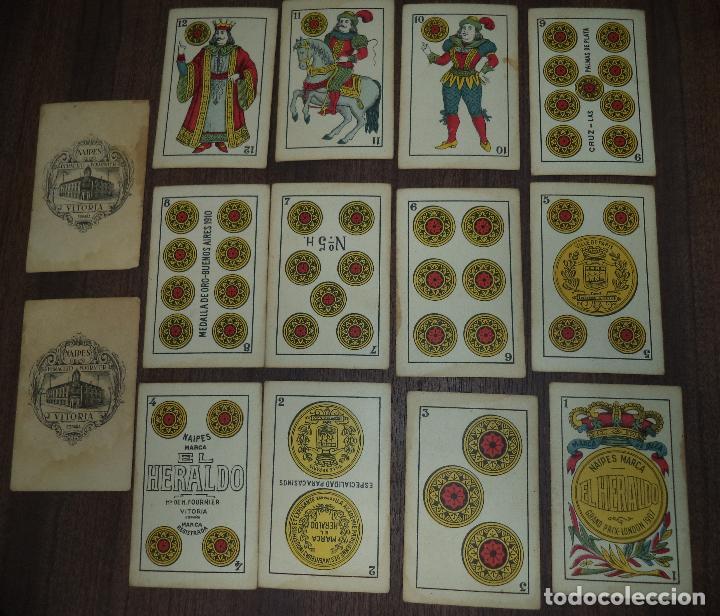 Barajas de cartas: BARAJA DE CARTA ESPAÑOLA. EL HERALDO. MARCA DE OLEA. CADIZ. SIN APENAS USO. 1907. - Foto 10 - 120631979