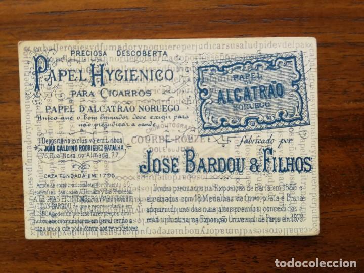 Barajas de cartas: BARAJA PAPEL DE FUMAR ALQUITRAN NORUEGO - Faltan 5 - REVERSO EN PORTUGUES JOSE BARDOU & FILHOS - Foto 7 - 121002899