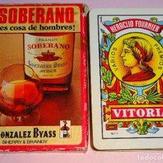 Barajas de cartas: BARAJA DE CARTAS ESPAÑOLA FOURNIER. BRANDY SOBERANO ES COSA DE HOMBRES. BYASS SHERRY. 80 GR. Lote 122089983