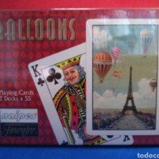 Barajas de cartas: NAIPES FOURNIER 2 BARAJAS DE BRIDGE BALLOONS GLOBOS AEROSTÁTICOS NUEVO PRECINTADO. Lote 122463427