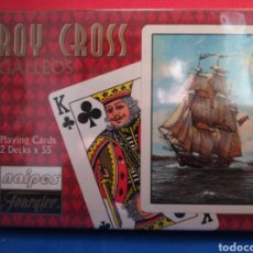 Barajas de cartas: NAIPES FOURNIER 2 BARAJAS DE BRIDGE ROY CROSS GALEONES NUEVO PRECINTADO. Lote 122464328
