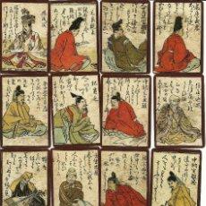 Barajas de cartas: ANTIGUA BARAJA HYAKUNIN ISSHU UTA KARUTA - JAPON S. XVIII - NUEVA CERT. COLECCION FOURNIER-60 CARTAS. Lote 124390243