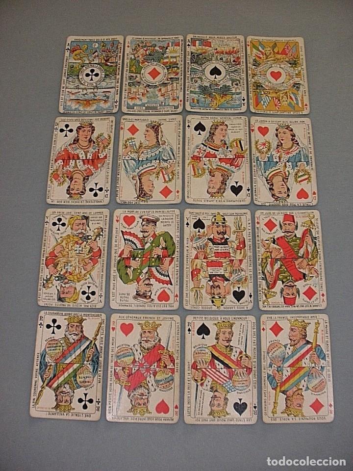 RARISIMA BARAJA JEU DES ALLIES PROVERBES I GUERRA MUNDIAL BIERMANS CARDS BELGICA 1919 (Juguetes y Juegos - Cartas y Naipes - Otras Barajas)