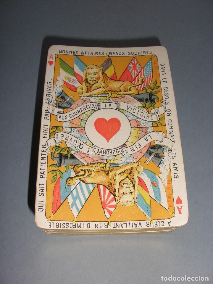 Barajas de cartas: RARISIMA BARAJA JEU DES ALLIES PROVERBES I GUERRA MUNDIAL BIERMANS CARDS BELGICA 1919 - Foto 2 - 110195655