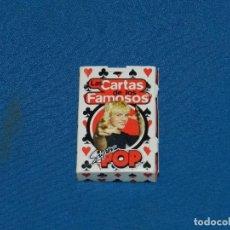 Barajas de cartas: (M) BARAJA DE POKER LAS CARTAS DE LOS FAMOSOS SUPER POP 6 X 4 CM SEÑALES DE USO. Lote 129650671