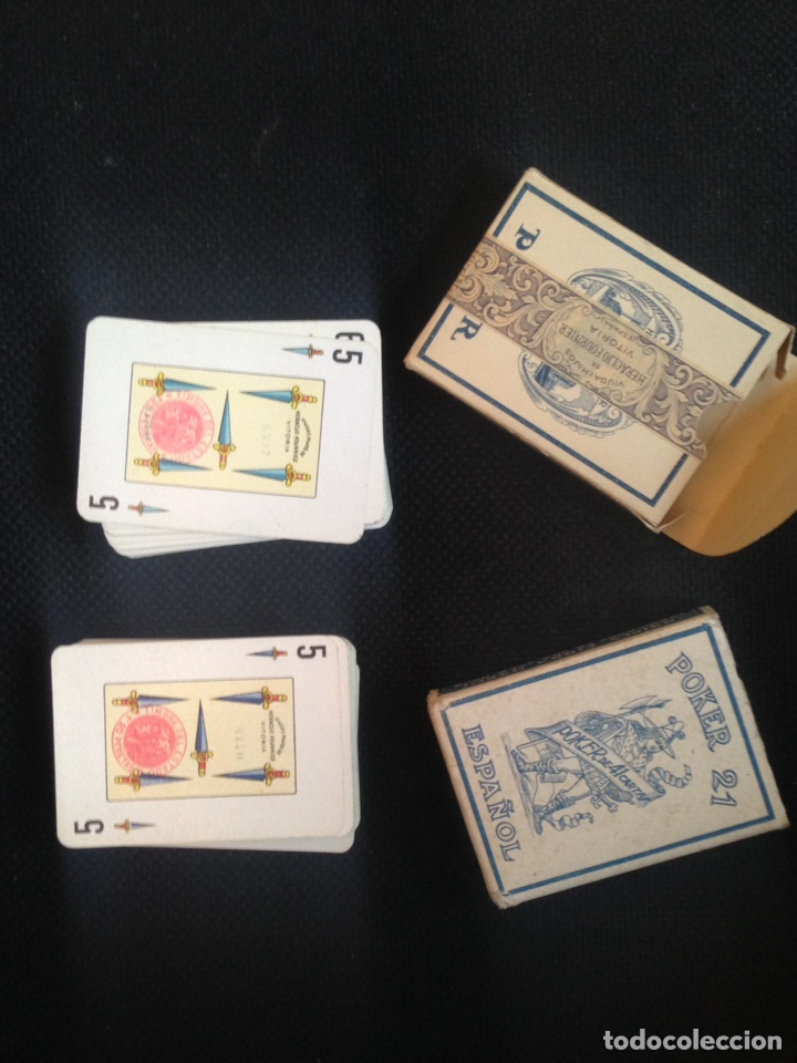 Barajas de cartas: LOTE 2 ANTIGUAS BARAJAS CARTAS POKER 21 ESPAÑOL HERACLIO FOURNIER - Foto 4 - 61842632