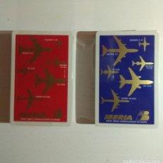 Barajas de cartas: DOBLE BARAJA DE CARTAS FOURNIER PUBLICIDAD LINEAS AEREAS IBERIA AVIONES BARAJAS DE POKER PRECINTADAS. Lote 132695578