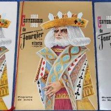 Barajas de cartas: CENTENARIO FOURNIER 1868 1968 - PROGRAMA DE ACTOS - MUSEO - MENU Y OTROS DOCUMENTOS.. Lote 133760450
