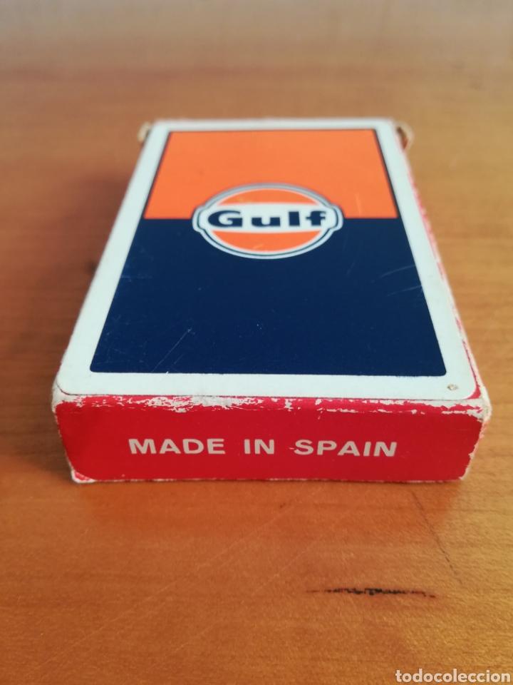 Barajas de cartas: Baraja Fournier publicidad Gulf - timbre sobre naipe Esquinas doradas - Vitoria - aceite motor oil - Foto 2 - 133863126
