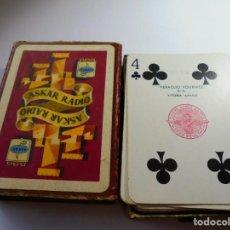 Barajas de cartas: MAGNIFICA ANTIGUA BARAJA DE POKER HERACLIO FOURNIER 3 PESETAS ,CON PUBLICIDAD ASKAR RADIO.. Lote 135006562