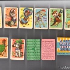 Barajas de cartas: ANIMAL RUMMY. A CARD GAME WITH RULES FOR CHILDREN. WHITMAN. COMPLETA. 44 CARTAS EN CAJA. Lote 135224002