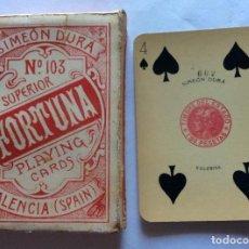 Barajas de cartas: BARAJA POKER SIMEON DURA. VALENCIA. NUM 103 SUPERIOR, FORTUNA. TIMBRE 1.80 PTS. 52 CARTAS. 1 COMODÍN. Lote 138922754