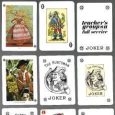 Barajas de cartas: 21 COMODIN, JOKER DE NAIPES COMAS, TODOS REVERSOS DIFERENTES, VER FOTOS, CERVEZA S. MIGUEL, GIN MG, . Lote 140205602
