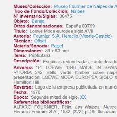 Barajas de cartas: DOS BARAJAS DE POKER. FOURNIER PARA LOEWE, TAMBIEN EXPUESTAS EN EL MUSEO DEL NAIPE DE ALAVA. Lote 147324990