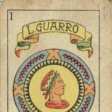 Barajas de cartas: BARAJA DE CARTAS L. GUARRO - BARCELONA-INCOMPLETA 35 CARTAS.. Lote 147731402
