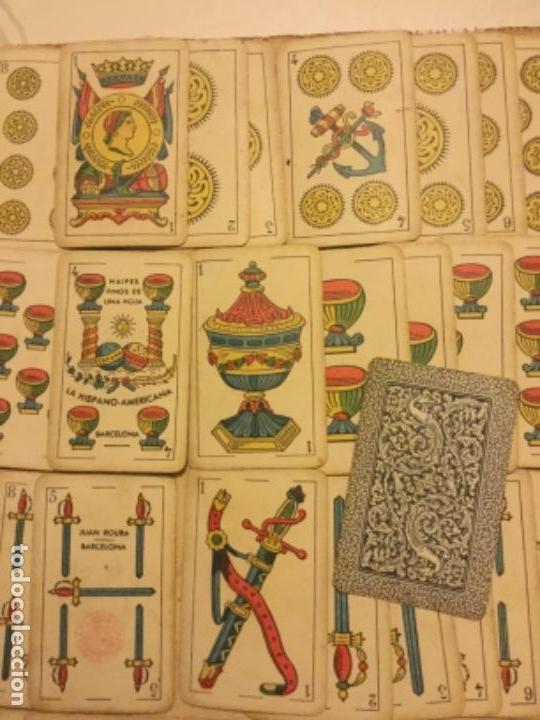 Barajas de cartas: Antigua Baraja Naipes Finos una Hoja La Hispano Americana 50 cartas Juan Roura Barcelona - Foto 3 - 147948142