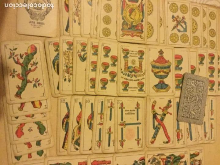 Barajas de cartas: Antigua Baraja Naipes Finos una Hoja La Hispano Americana 50 cartas Juan Roura Barcelona - Foto 4 - 147948142