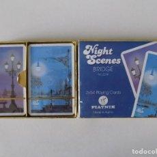 Barajas de cartas: LIBRERIA GHOTICA. 2 BARAJAS NIGHT SCENES.BRIDGE 1980. CON ESTUCHE. PIATNIK. 2 X 54 CARTAS.. Lote 148852694