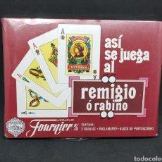 Barajas de cartas: ASI SE JUEGA AL REMIGIO O RABINO - BARAJA HERACLIO FOURNIER VICTORIA - PRECINTADA - CAR32. Lote 148990478