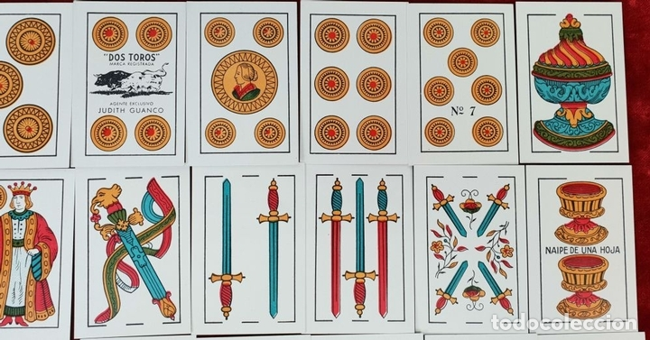 Barajas de cartas: BARAJA DE 40 NAIPES. DOS TOROS. JUAN ROURA. FABRICA HISPANO AMERICANA. CIRCA 1940. - Foto 2 - 149147866