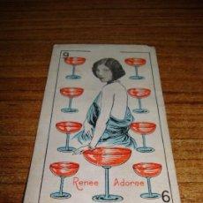 Barajas de cartas: NAIPE CARTA CROMO CHOCOLATES RIUCORD 9 COPAS RENEE ADOREE. Lote 150110194