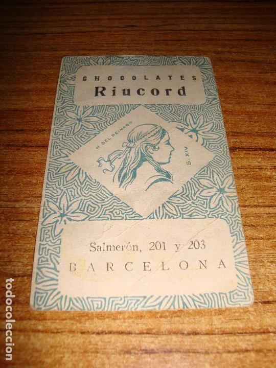 Barajas de cartas: NAIPE CARTA CROMO CHOCOLATES RIUCORD 7 OROS - Foto 2 - 150110326
