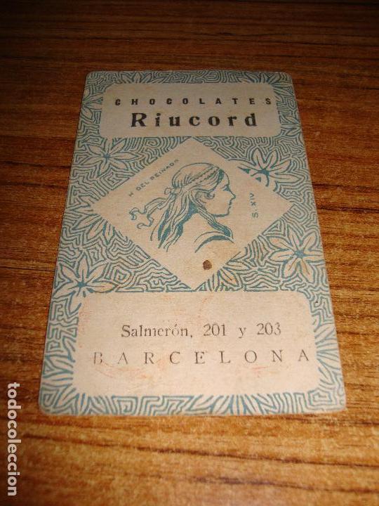 Barajas de cartas: NAIPE CARTA CROMO CHOCOLATES RIUCORD 7 OROS - Foto 2 - 150110354