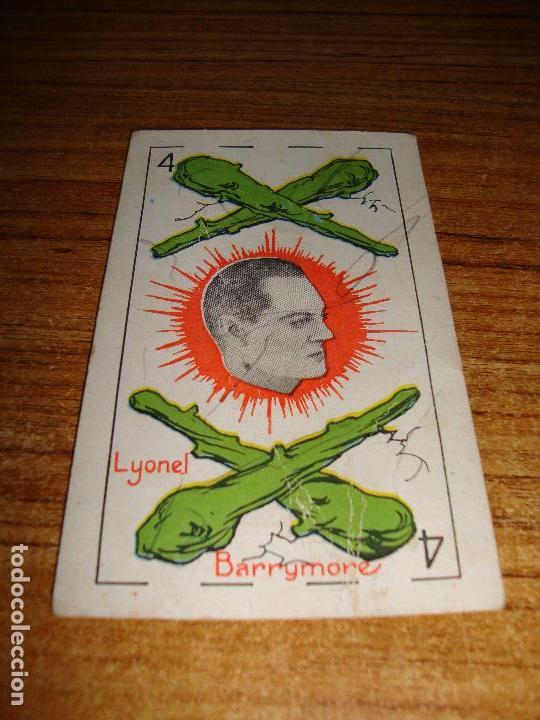 NAIPE CARTA CROMO CHOCOLATES RIUCORD 4 BASTOS LYONEL BARRYMORE (Juguetes y Juegos - Cartas y Naipes - Otras Barajas)