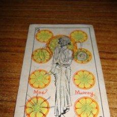 Barajas de cartas: NAIPE CARTA CROMO CHOCOLATES RIUCORD 9 OROS MAEL MURRAY. Lote 150111314