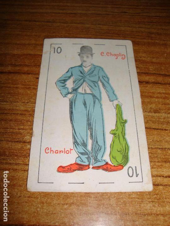 NAIPE CARTA CROMO CHOCOLATES RIUCORD 10 BASTOS CHARLOT (Juguetes y Juegos - Cartas y Naipes - Otras Barajas)