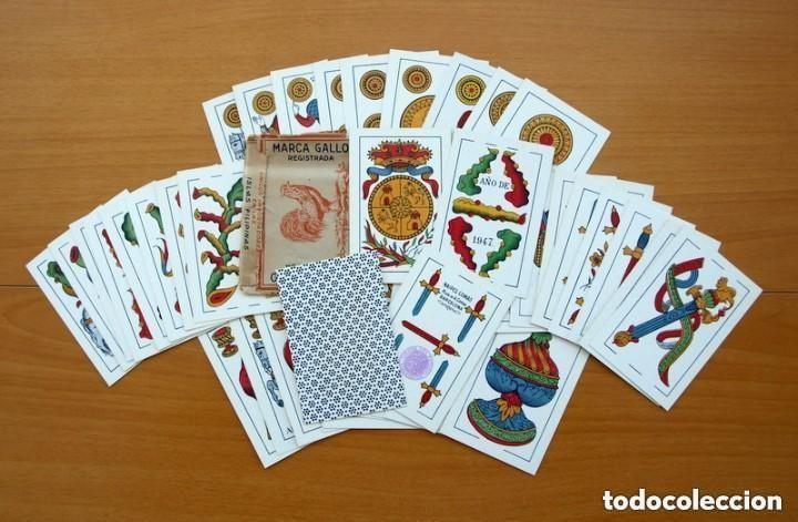BARAJA NAIPES COMAS 1947 MARCA GALLO - COMPLETA 40 CARTAS - VER FOTOS INTERIORES (Juguetes y Juegos - Cartas y Naipes - Baraja Española)