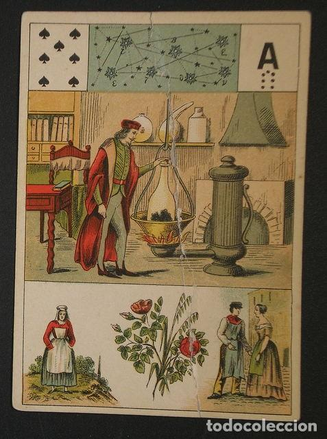 Barajas de cartas: GRAND JEU DE MADEMOISELLE LENORMAND. Baraja adivinatoria completa: 54 cartas 13x9. Sello de 1890 - Foto 2 - 150472142