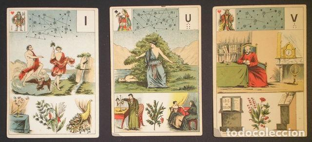 Barajas de cartas: GRAND JEU DE MADEMOISELLE LENORMAND. Baraja adivinatoria completa: 54 cartas 13x9. Sello de 1890 - Foto 5 - 150472142
