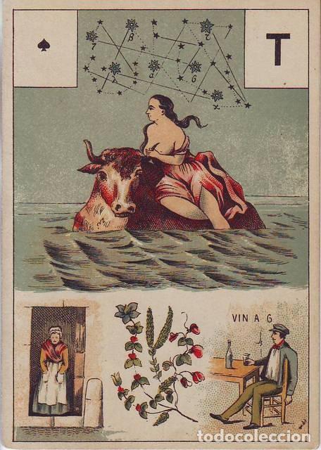 Barajas de cartas: GRAND JEU DE MADEMOISELLE LENORMAND. Baraja adivinatoria completa: 54 cartas 13x9. Sello de 1890 - Foto 6 - 150472142