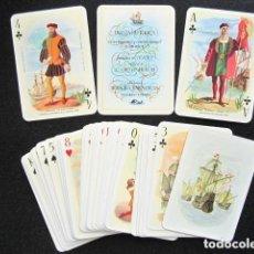 Barajas de cartas: BARAJA HISTÓRICA DESCUBRIDORES Y COLONIZADORES AMÉRICA. HERACLIO FOURNIER, VITORIA. COMPLETA.. Lote 151361782