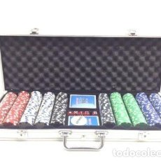 Barajas de cartas: MALETIN 500 FICHAS CHIPS + DADOS + BARAJAS CASI SIN USO PARCIALMENTE PRECINTADO R8586. Lote 151399586
