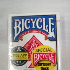 Barajas de cartas: BARAJA BICYCLE AZUL STRIPPER DECK. Lote 152323817