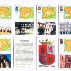 Barajas de cartas: CASTILLA Y LEÓN, JUEGO VIAJEMOS JUNTOS, LAS AUTONOMÍAS, AGRUPACIÓN DE RUTAS. 1987. Lote 154474798