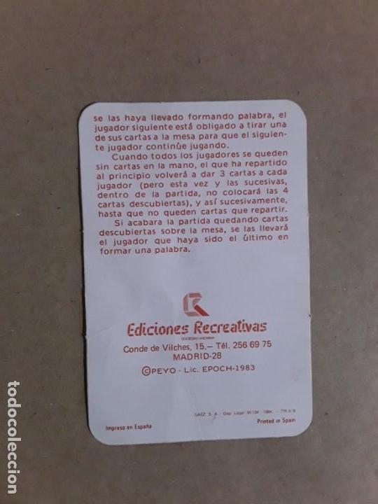 Barajas de cartas: Baraja de cartas,el juego de las pitufo letras,ediciones recreativas,1983 - Foto 3 - 157276866